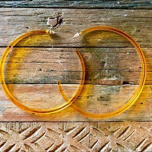 """Earrings 3"""" hoop acrylic resin orange post"""